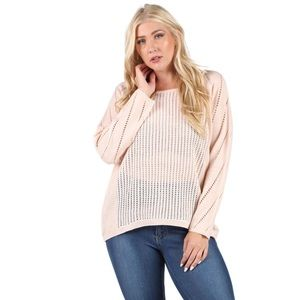 Sweaters - 💥 CLEARANCE Open Crochet Knit Blush Sweater Top